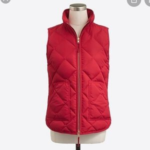 J Crew Small Puffer Vest Red Quilted Vest Small